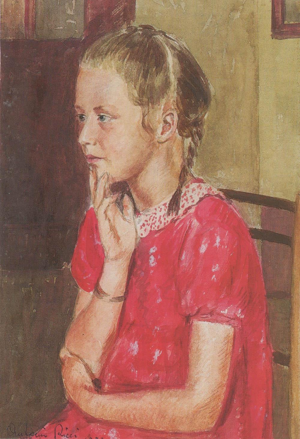 Ragazzina in rosso, 1938