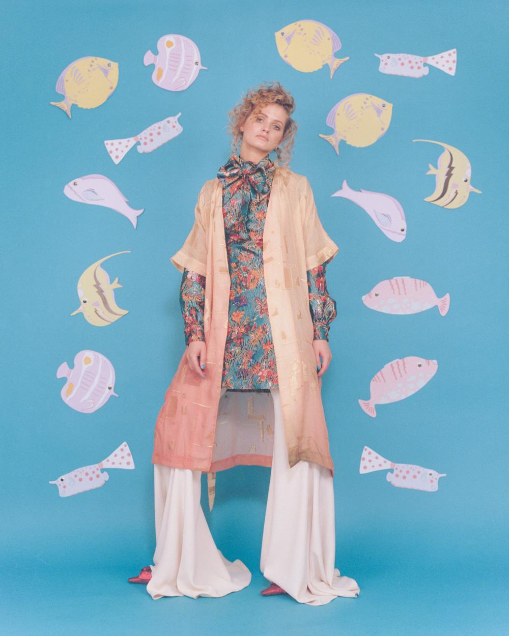 kimono   STINE GOYA   dress   YSL  pants   LANA MUELLER   shoes   MOSCHINO