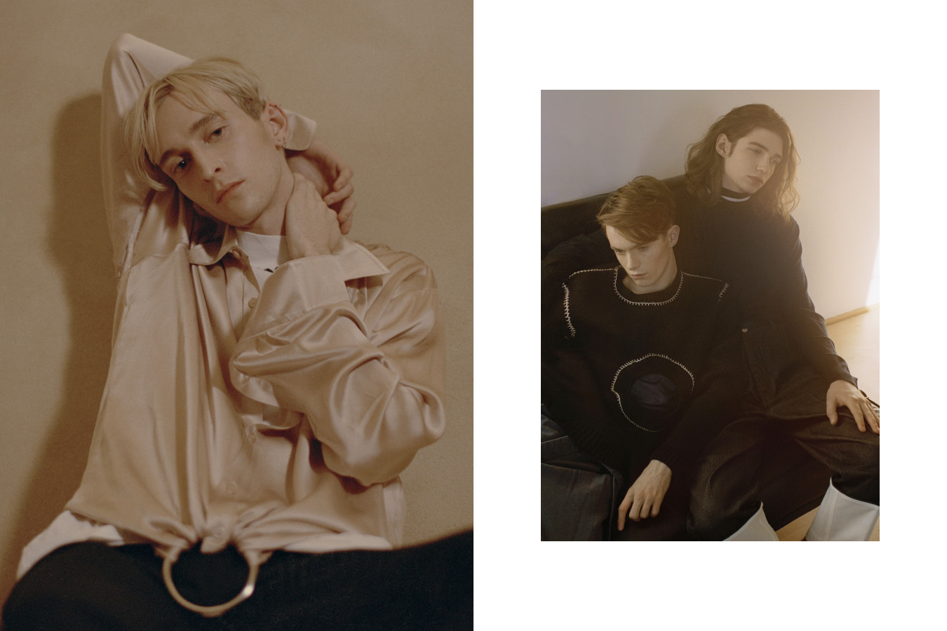 Lewis wears turtleneck   OFF­‐WHITE   shirt   MARTINE ROSE   pants   SAINT LAURENT  . Harry wears top   ACNE STUDIOS   jumper   CRAIG GREEN   pants   LOEWE  . Johnny wears sweater   PAUL SMITH   pants   LOEWE