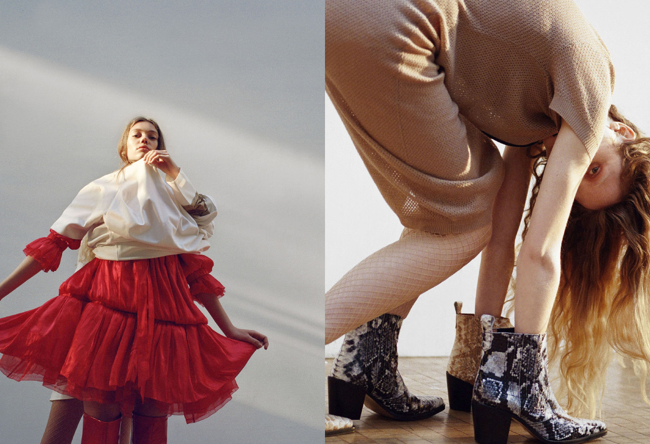 Lydia wears dress   ANGEL CHEN   t-shirt   WAN HUNG   boots  STYLIST'S OWN . Franny wears dress   LUAR  . Franny wears dress   ASTRID ANDERSEN   boots   GANNI