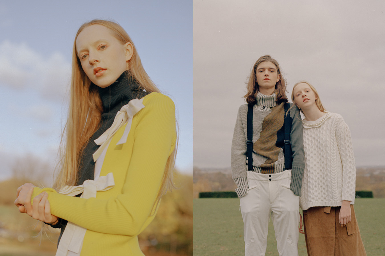 Efie wears top   JACQUEMUS  . Asbjorn wears sweater   MAIGIDAH   pants   FUSALP  . Efie wears sweater   SIMONE ROCHA   skirt   WHISTLES