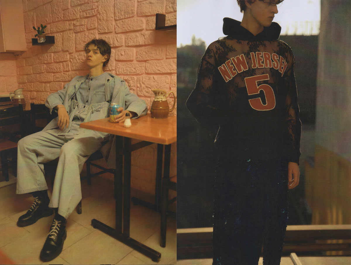 Albus wears shirt, overall and jacket   69   shoes  MODEL'S OWN . Albus wears sweatshirt   DRY CLEAN ONLY   pants   LOU DE BETOLY
