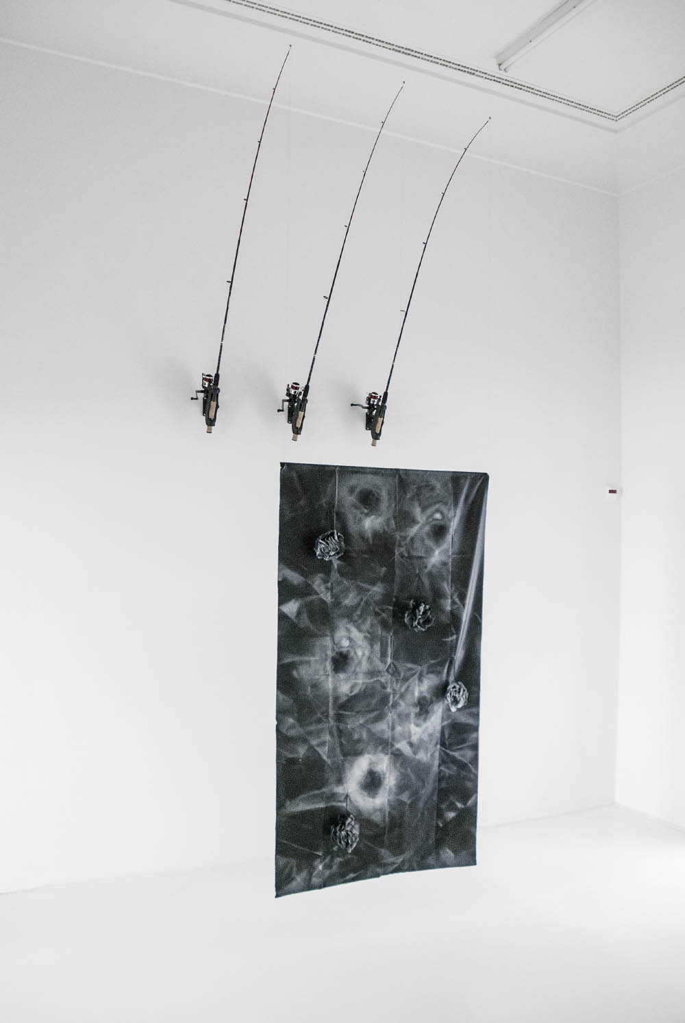 Relief, 2013, Fishing rods, rod mounts, spray paint and loofahs on shower curtain,375 x 150 x 95 cm. Installation view at Helmhaus, Zurich, CH