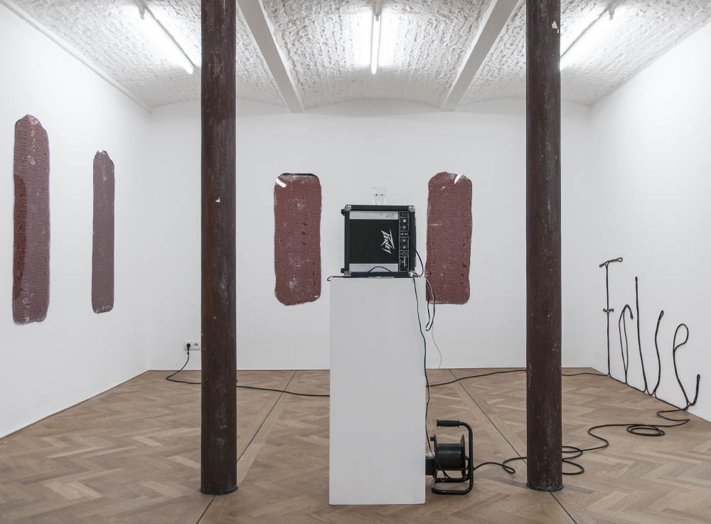 Sift, 2015, Prints on plexiglas, extension cord, speaker, cup, water, iPod, soundtrack, Dimensions variable. Installation view at Levy Delval, Brussels, BE