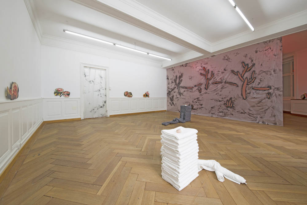 0 - 1,000 mph/ 67,000 mph/ 490,000 mph, 2016, Towels, eggs, light gels, clocks, ink on canvas, spray paint on plastic, Dimensions variable. Installation view at Kunsthaus Langenthal, Langenthal, CH