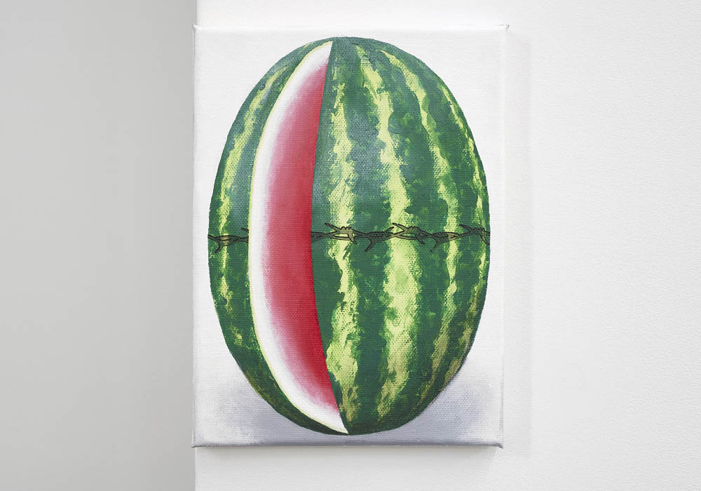 Watermelon, 2016, Temporary tattoo and acrylic on canvas, 24 x 18 cm