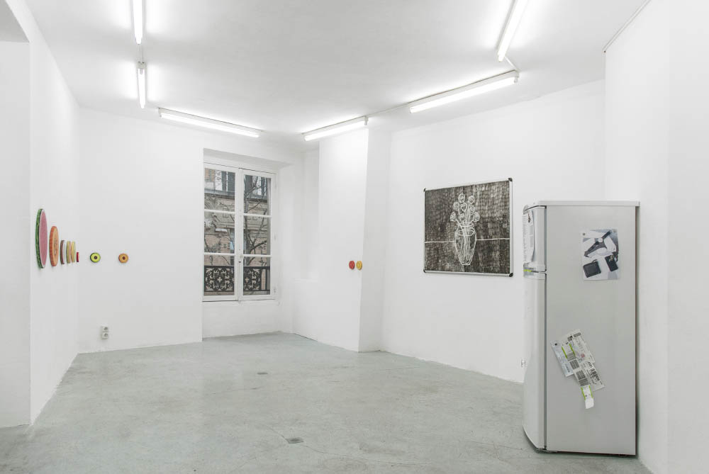 Pastel, 2016, Acrylic on canvas, ink on whiteboard, refrigerator, Dimensions variable. Installation view at Galerie Joseph Tang, Paris, FR