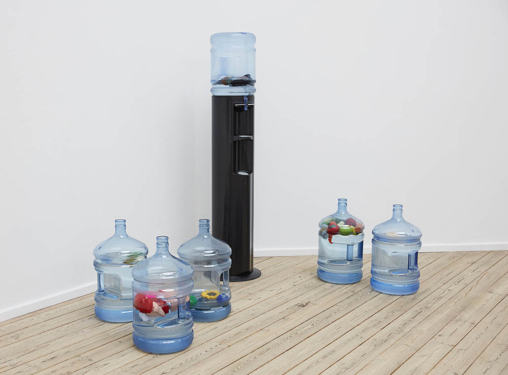 Stress comes in all forms, 2016, Stress relievers, water, water jugs, water dispenser, 40 x 28 x 28 cm each. Installation view at Piscine, Kunsthal Aarhus, Aarhus, DK