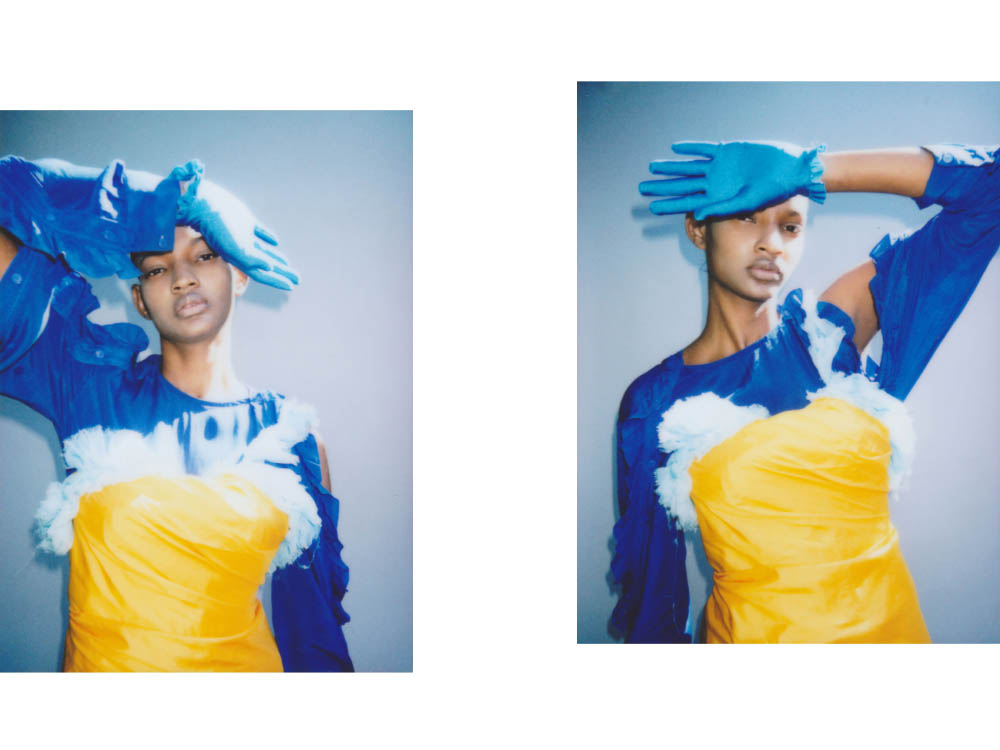 dress   EMILIO DE LA MORENA  blue dress   PREEN LINE  gloves   BALENCIAGA