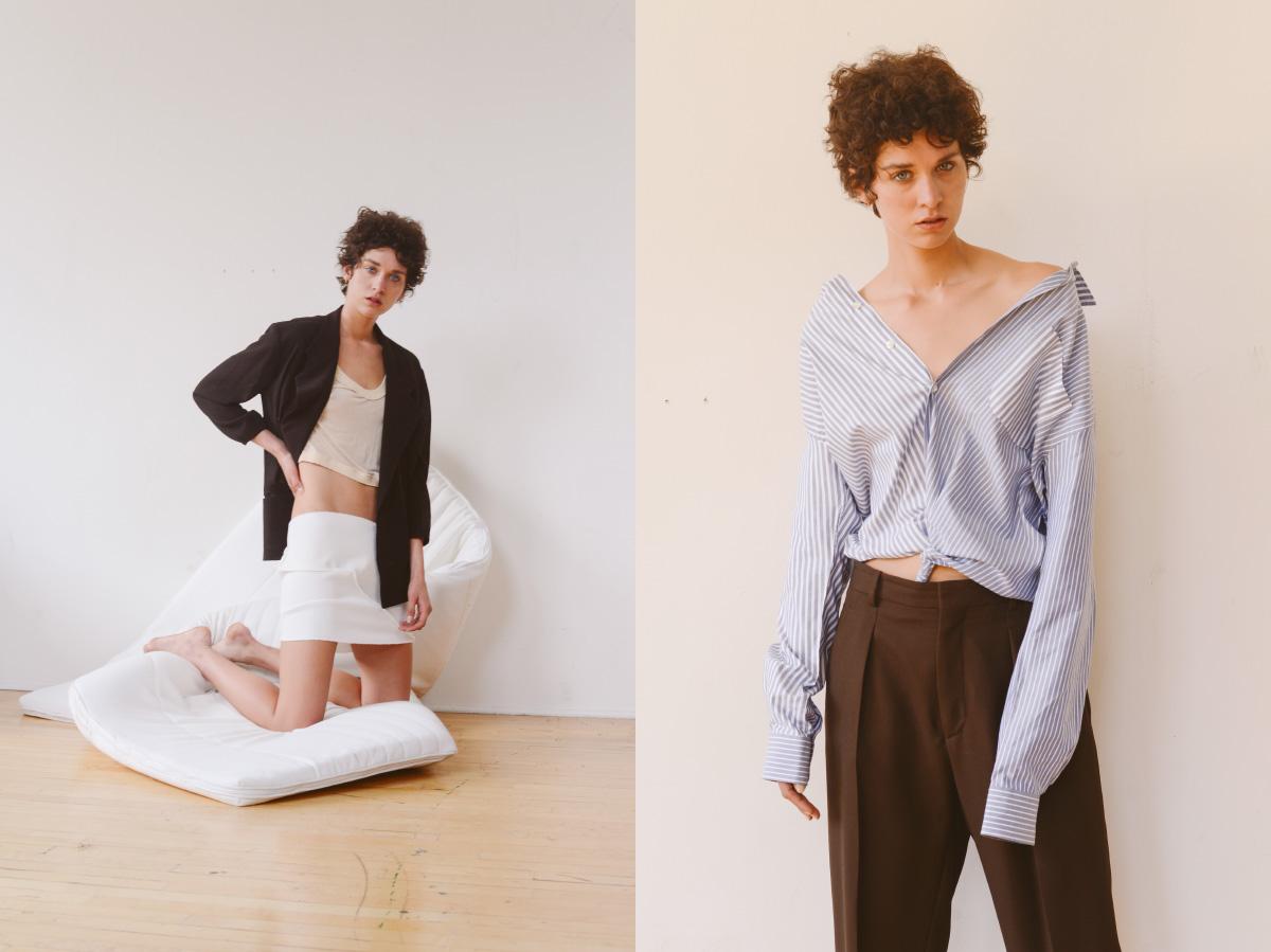 blazer   YOHJI YAMAMOTO   top and top as skirt   DESIREEKLEIN  . all garments   SECOND LAYER