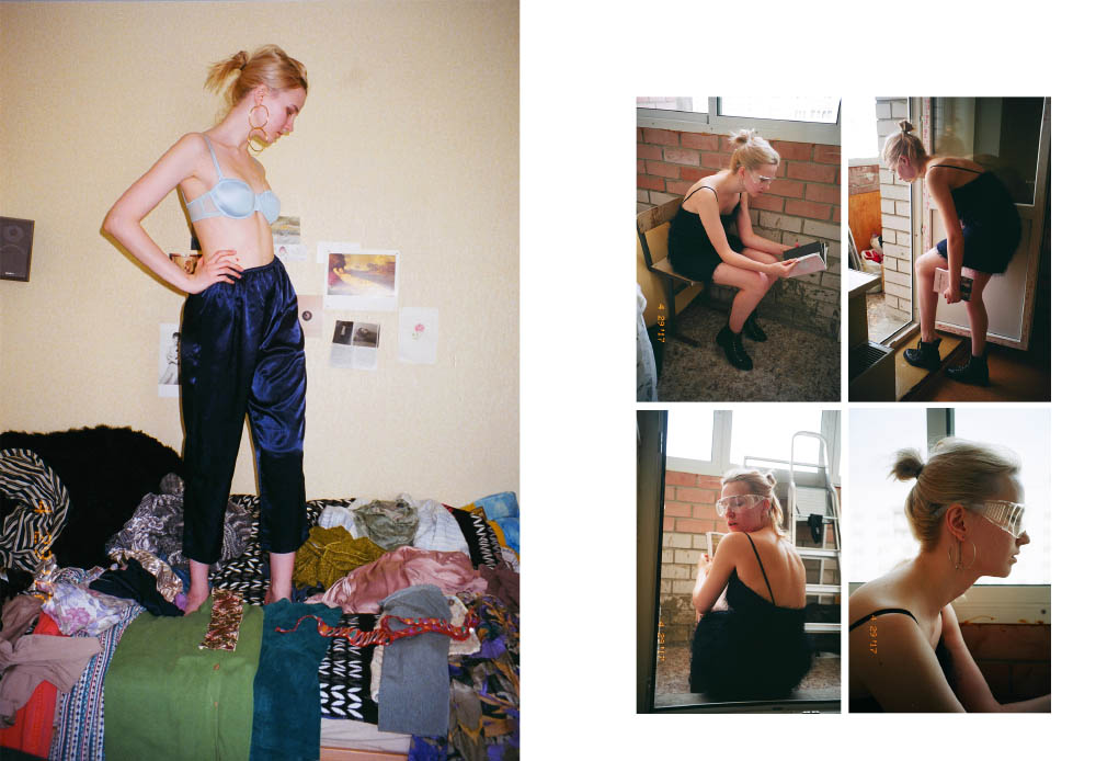 pants  STYLIST'S OWN bra  INTIMISSIMI . dress  FRENCH CONNECTION earring  JUSTINE CLENQUET shoes  RALPH LAUREN