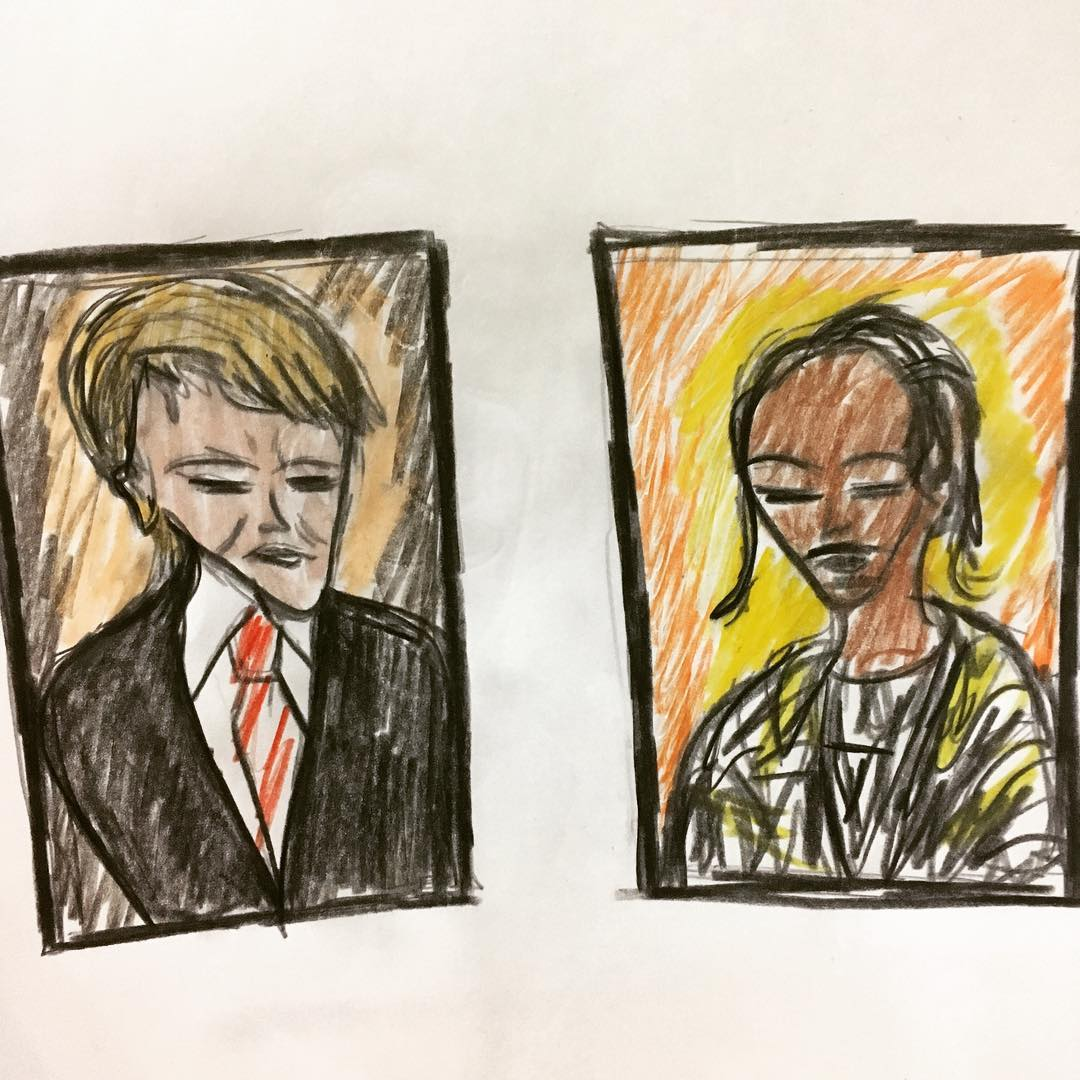 Drawing of Donald Trump and Snoop Dogg photographs being shown next to each other at NY's Frieze Art Fair.