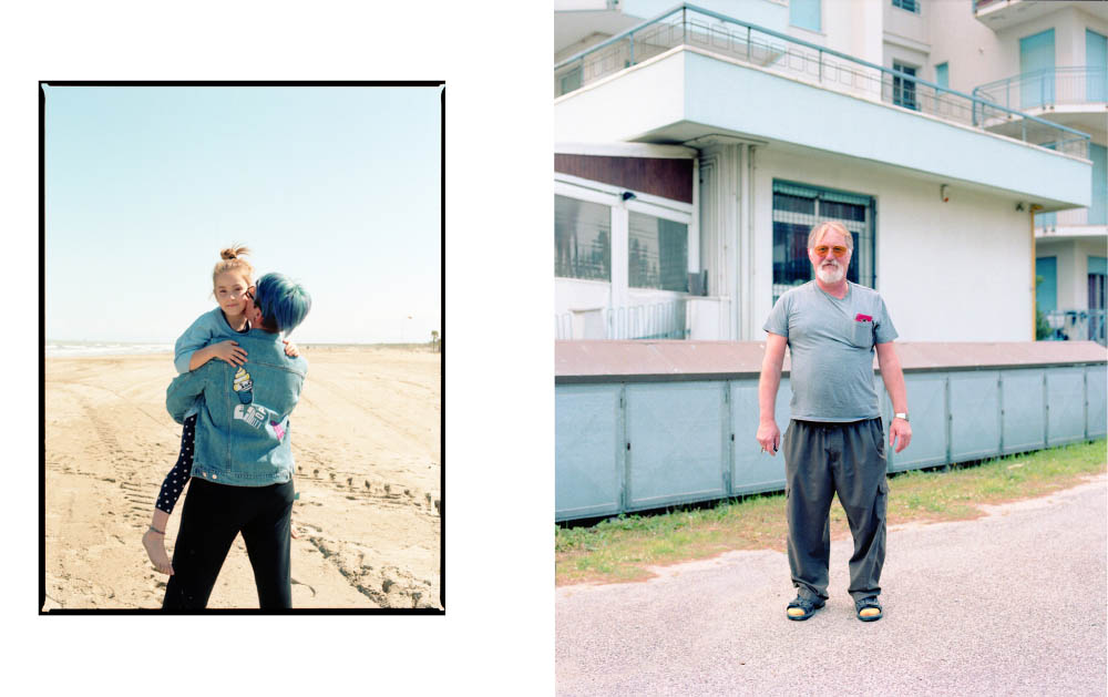 Katia and Giulia wears t-shirt and jacket  KENZO .Gianpaolo wears sunglasses  RETROSUPERFUTURE