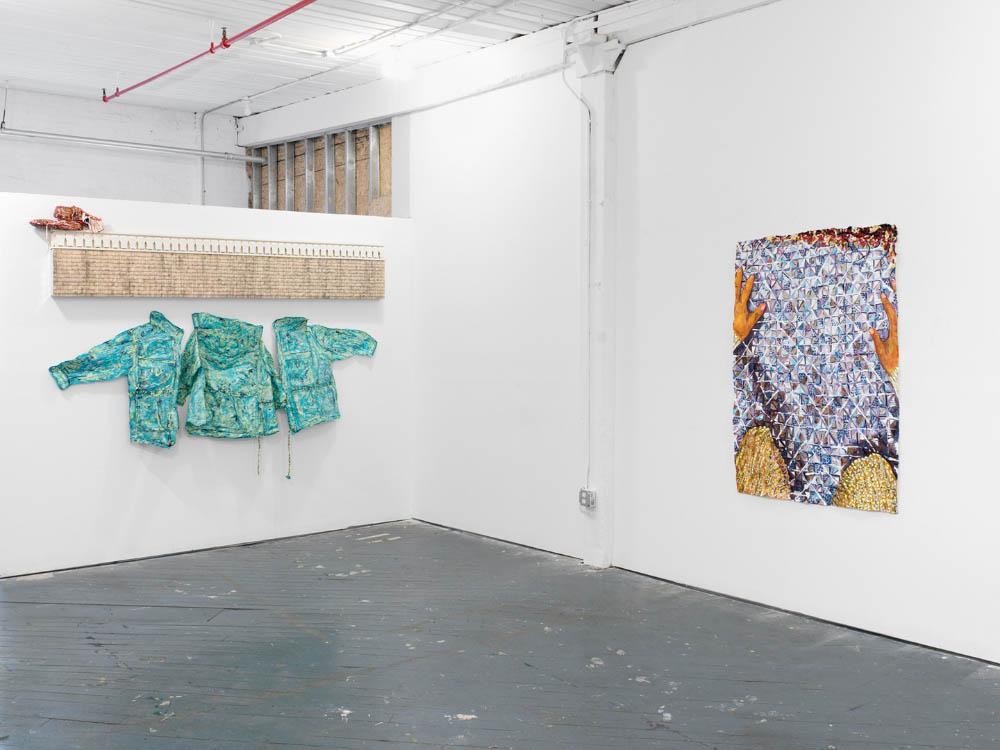 Installation view, Meena Hasan and Cal Siegel - wallflower frieze, 6BASE, Bronx, NY, 2017