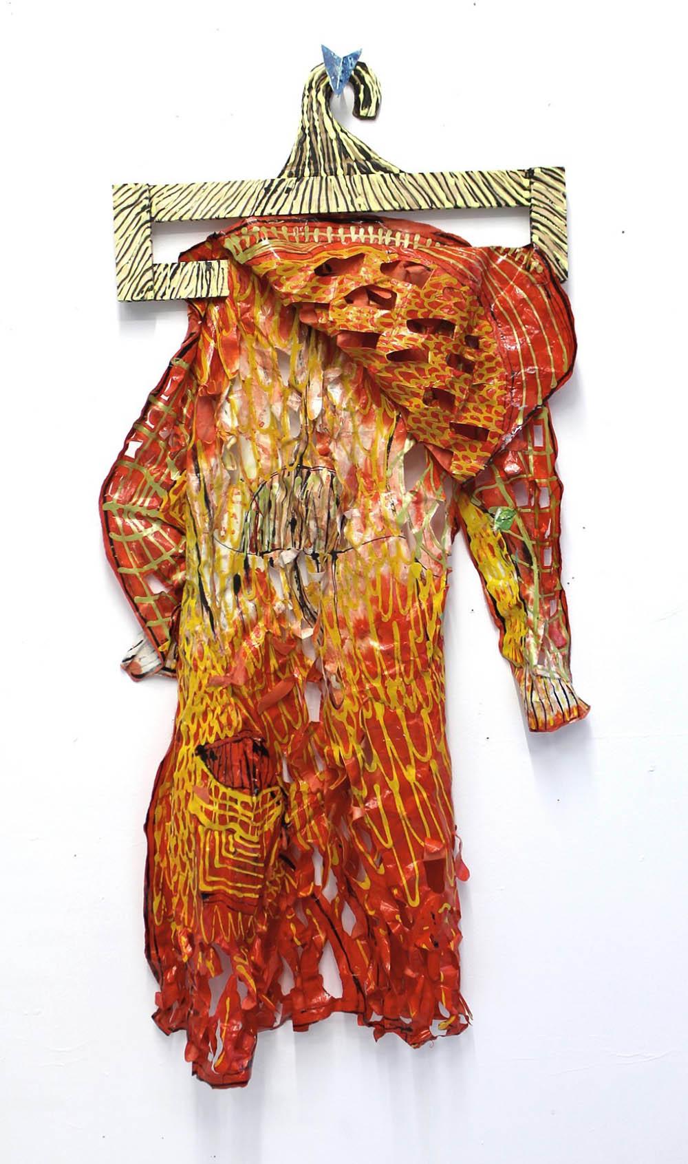 "Raincoat, 2014, acrylic, ink and fabric dye on Japanese Okawara paper, 48"" x 30"""