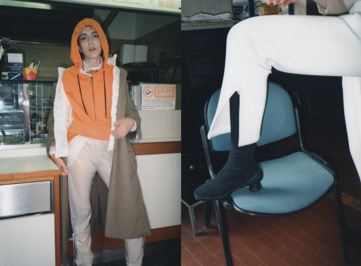 shirt and hoodie  KAPPA KONTROLL  track pants  COTTWEILER FOR REEBOK  down jacket  MANGANO  coat  VìEN. boots  CAMPER