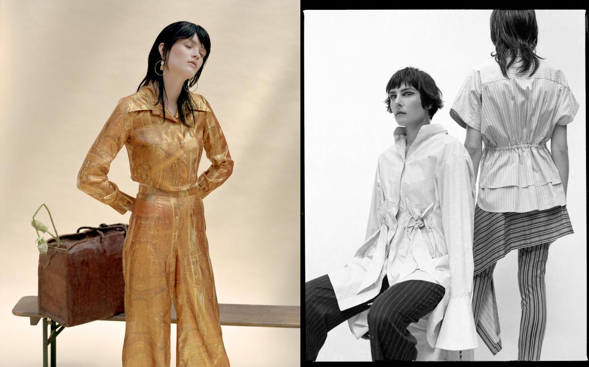 two piece  ALEXANDRA LONG .shirt  XIAO LI trousers  ALEXANDRA LONG ,shirt and trousers  PALMER HARDING