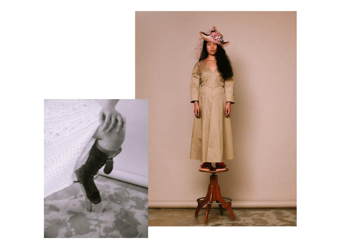 dress  GCDS . hat  GIANMARCO BERSANI  dress  MILA SCHÖN  shoes  SUICOKE