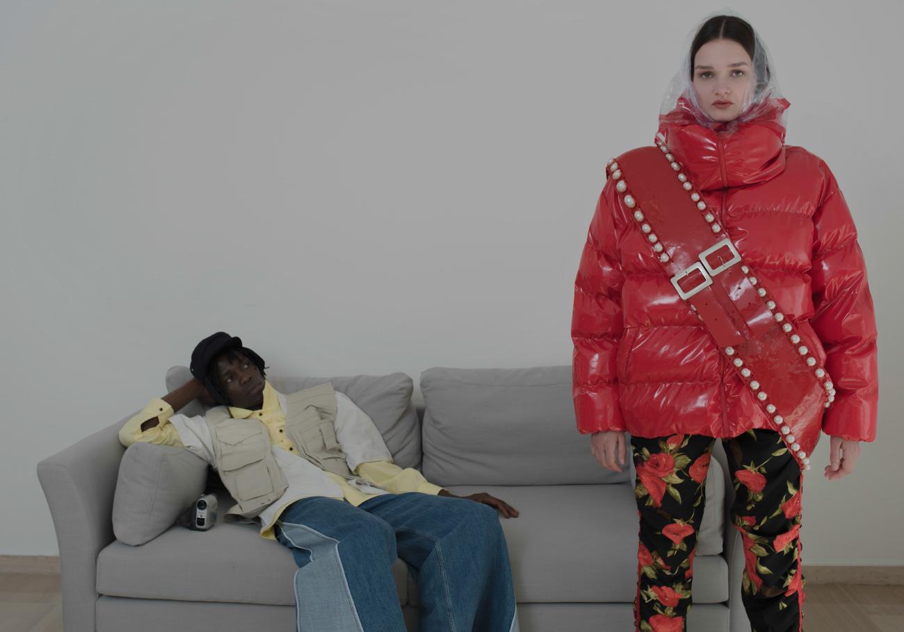 romane wears total outfit  DARIA KOZINSKA  nino wears vest and shirt  STYLIST'S OWN  yellow shirt  RAOUL VISENDI  shoes  LOTTO  jeans  ANDREA YA'AQUOV  hat  STYLIST'S OWN