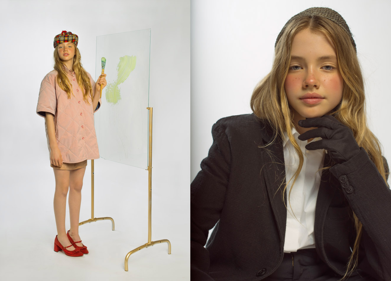 jacket  MANEMANE  shoes  KLING  skirt and hat  STYLIST ' S OWN . jacket  LOREAK  shorts  PULL AND BEAR  gloves and shirt  STYLIST ' S OWN