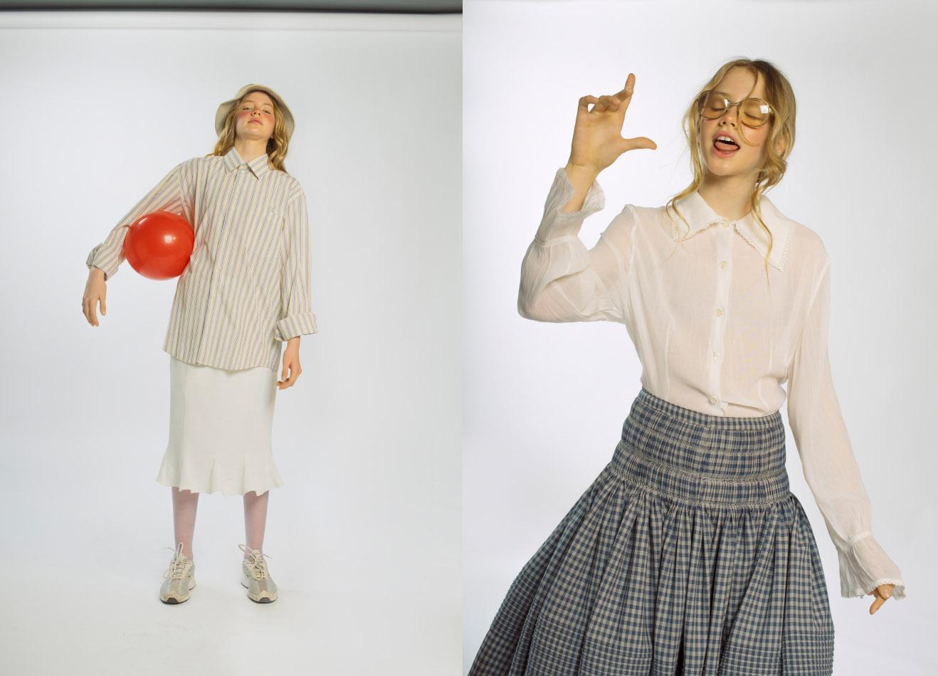 shirt  RALPH LAUREN  hat skirt and sneakers  STYLIST ' S OWN . skirt  MANEMANE  shirt  STYLIST ' S OWN  sneakers  STYLIST ' S OWN