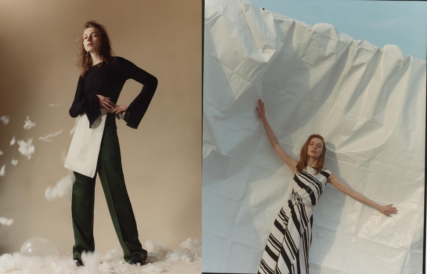 top and apron   TOMMY ZHONG   trousers   SHARON WAUCHOB   pierces   ERIKA   shoes   EUDON CHOI  . dress   DIVKA
