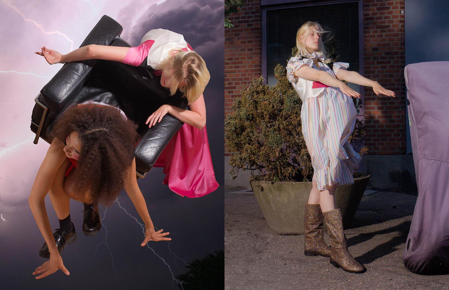 Amalie R wears dress   STINE GOYA  top   FREYA DALSJØ  . Louise wears dress   SOFIE SOL STUDIO  top   FREYA DALSJØ  boots   STINE GOYA