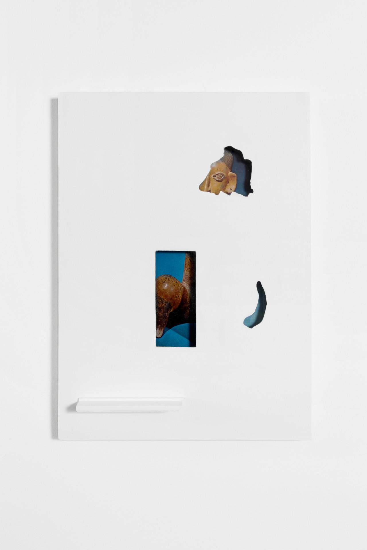 Untitled, 2018, found image, glass, wood, intonachino, wall paint; 31cm x 44cm x 4cm