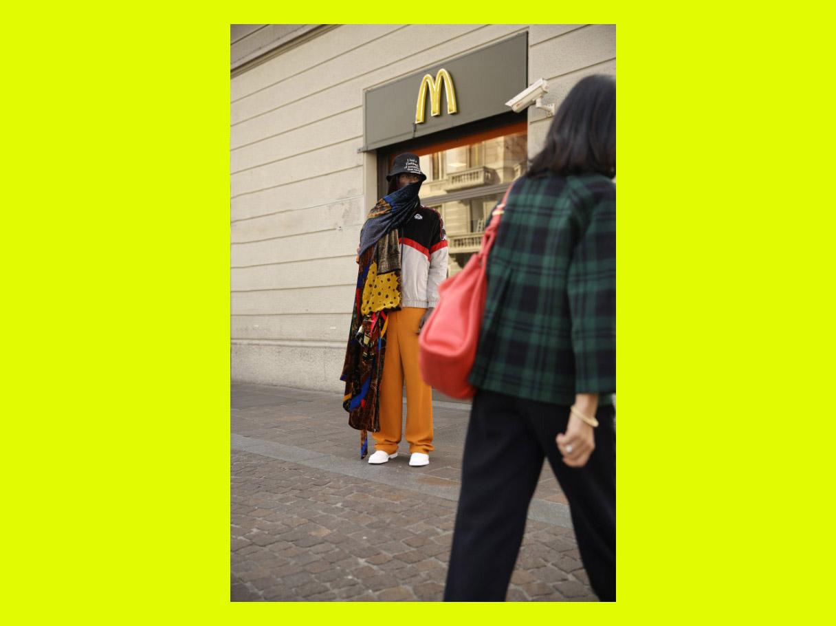 jumper  KAPPA  pants  DAKS  oxford shoes  CAMPER  bucket hat  ANGELOS FRENTZOS  dressing gown worn as scarf  PIERRE-LOUIS MASCIA