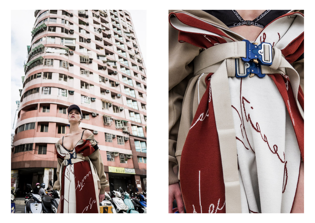 jacket  MAISON MARGIELA  scarf/dress  NECESSITY SENSE  belt  ALYX STUDIO  cap  424