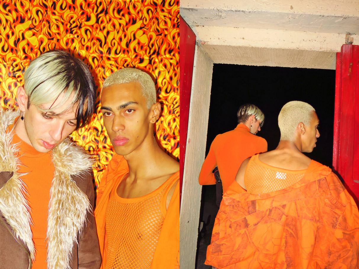 faux fur jacket  LUANA turtleneck shirt  STYLIST'S OWN . net crop top  PURE shirt  UNIVERSE