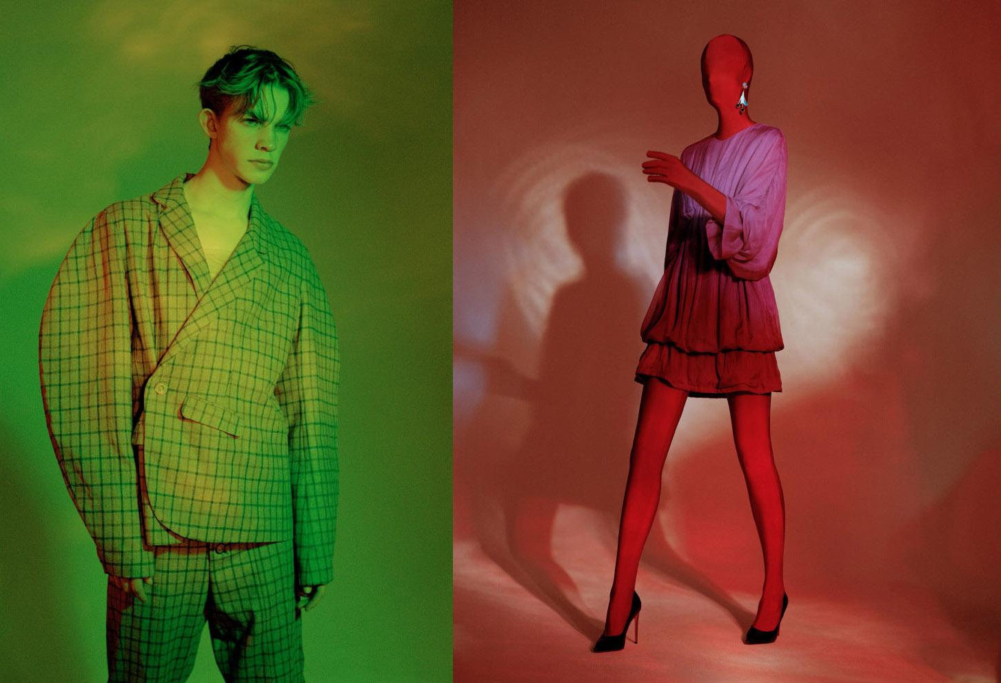 plaid woolen oversize suit   ROBERTO NIZZARI   red lycra morphsuit and purple viscose organza dress   GIULIA TOTOLA     earring   PEET DULLAERT     heels  LAUF