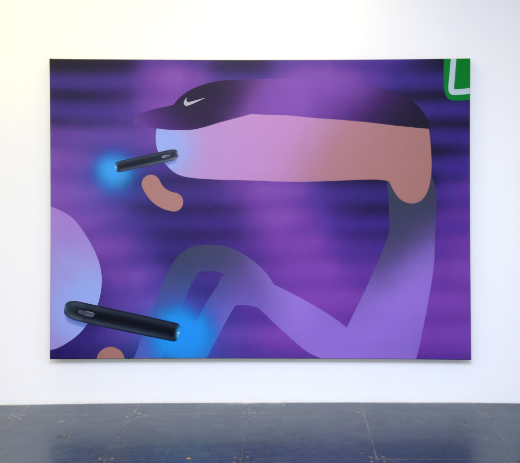 Grape Vape, 2019, oil and acrylic on canvas, 225cm x 160cm.
