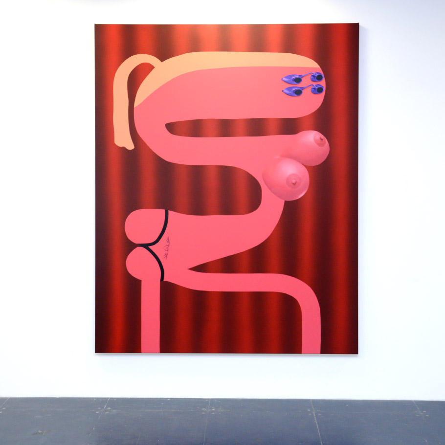 '10 minutes' (sunbed), 2019, oil and acrlyic on canvas, 200cm x 155cm.