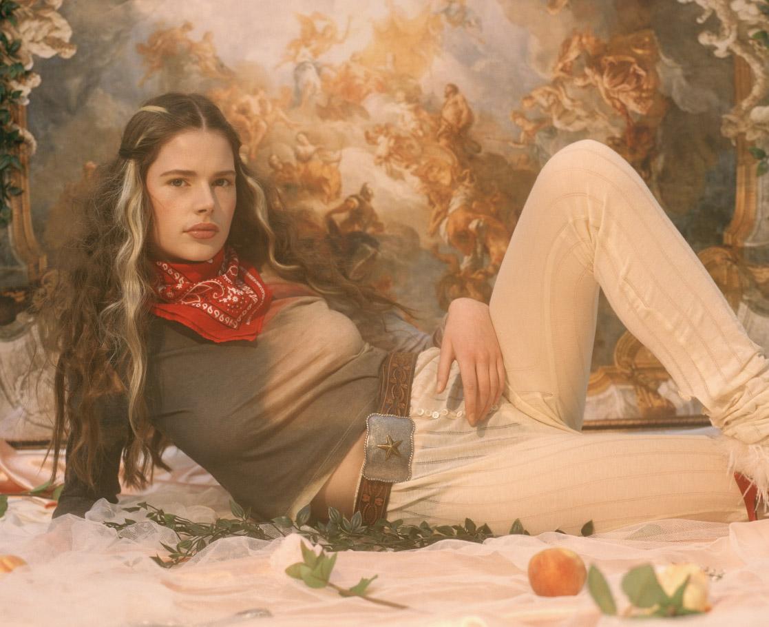 bandana  VINTAGE  top  ELLISS  belt  VINTAGE  leggings  JORDAN DALAH  shoes  WESTERNAFFAIR