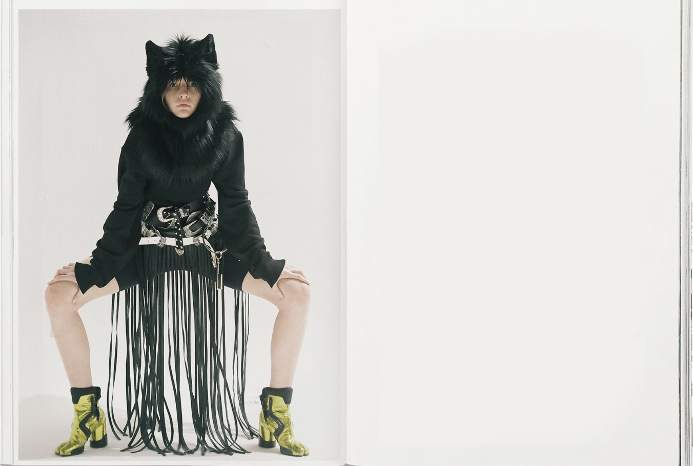 wolf hat  STYLIST'S OWN  look  GUNTAS  belts  MANC  chain  GIVENCHY  heels  MARGIELA
