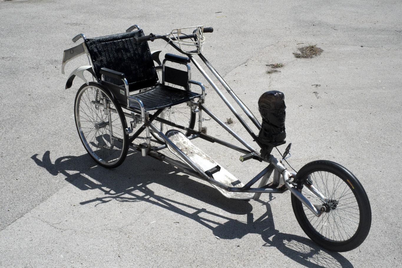 Hobby 1800 (Wheelchair chopper), 2015. Various materials. 95 x 75