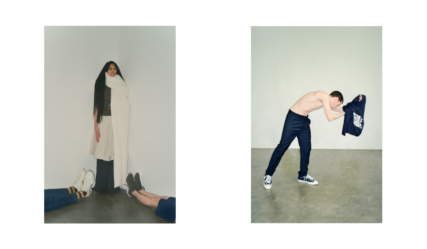 doriano wears trousers  LUCIO VANOTTI  archive socks  MARNI  archive shoes  RAF SIMONS . patricia tank top  MARNI  skirt  RENLI SU  trousers  KIKISHENZZ  shoes  STYLIST'S   OWN  scarf  RICK OWENS . jyoon wears dress  MARNI  archive shoes  RAF SIMONS . riccardo wears t-shirt  PRESSURE PARIS  trousers  ACNE STUDIOS  archive shoes  CONVERSE