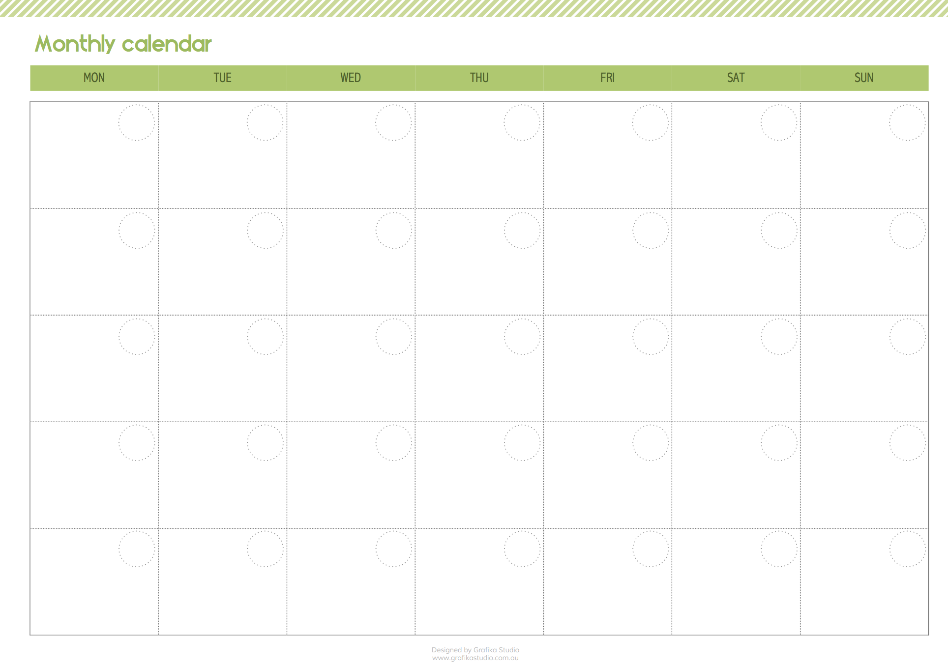 Printable monthly calendar. Click on the image to download pdf