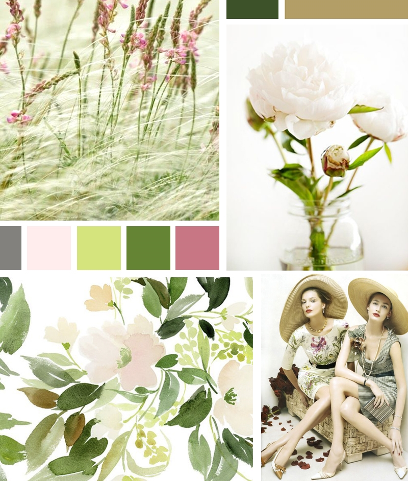 Mood board inspired by business dedicated to create beauty, from photographers, to designers, artists and fashion business. Image sources: 1.  Wild Grasses ; 2.  Peonies ; 3.  Yao Cheng's Watercolours ;4.  Ladies