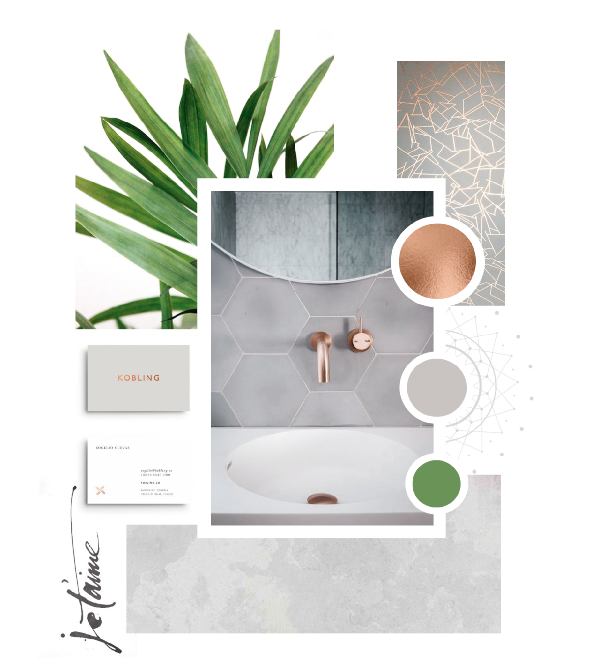 Mood board for ColourCube Interiors new brand, by Grafika Studio