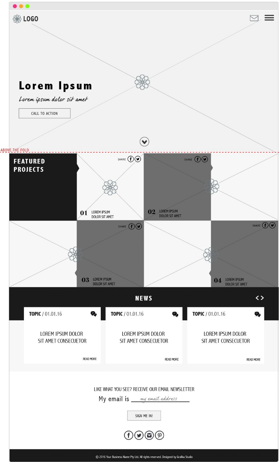 Home page wireframe for a website project by Grafika Studio