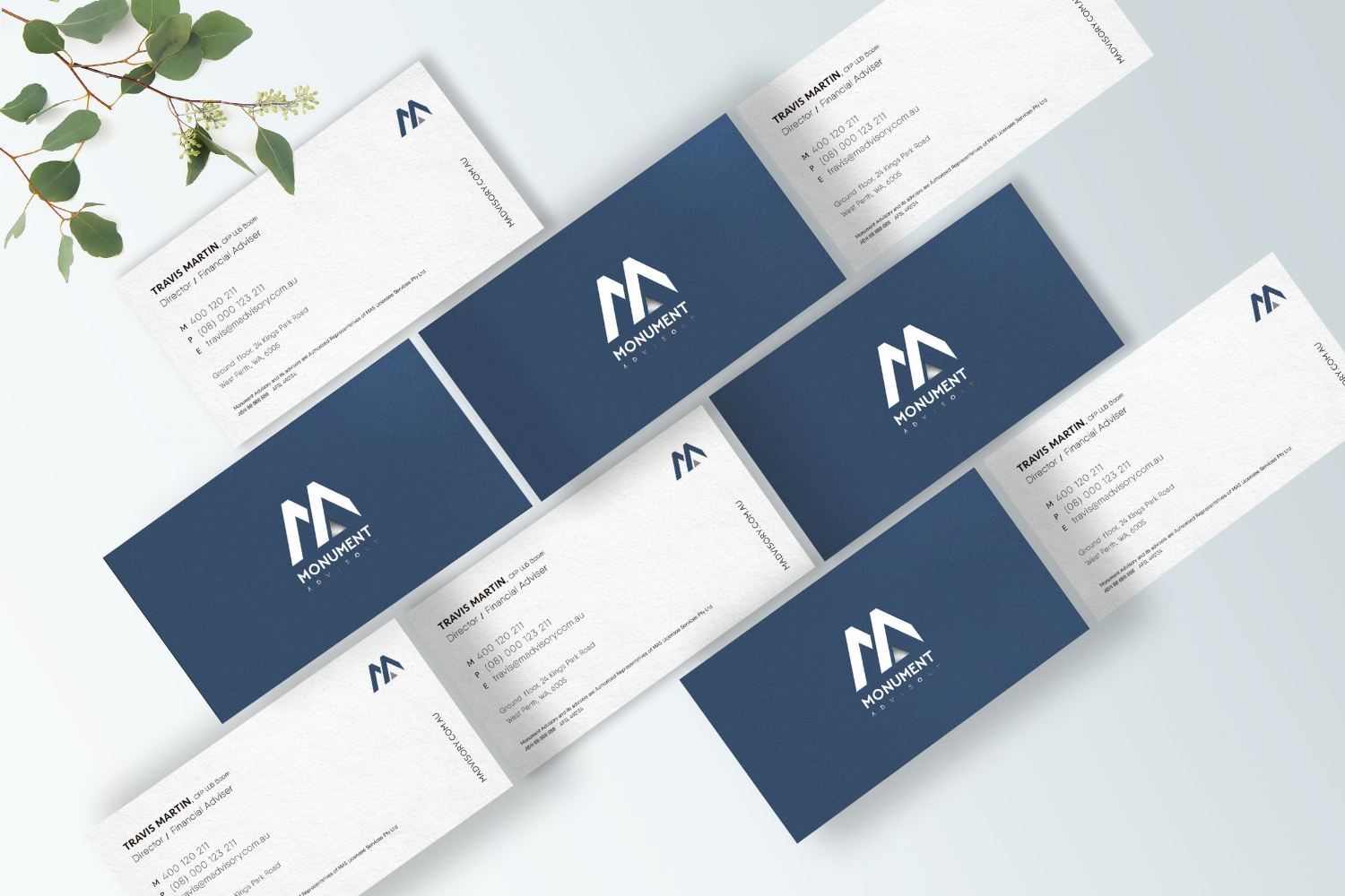 Monument Advisory  business cards, by Grafika Studio