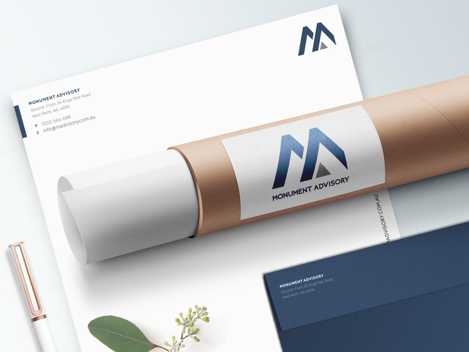 Monument Advisory  business stationary, by Grafika Studio