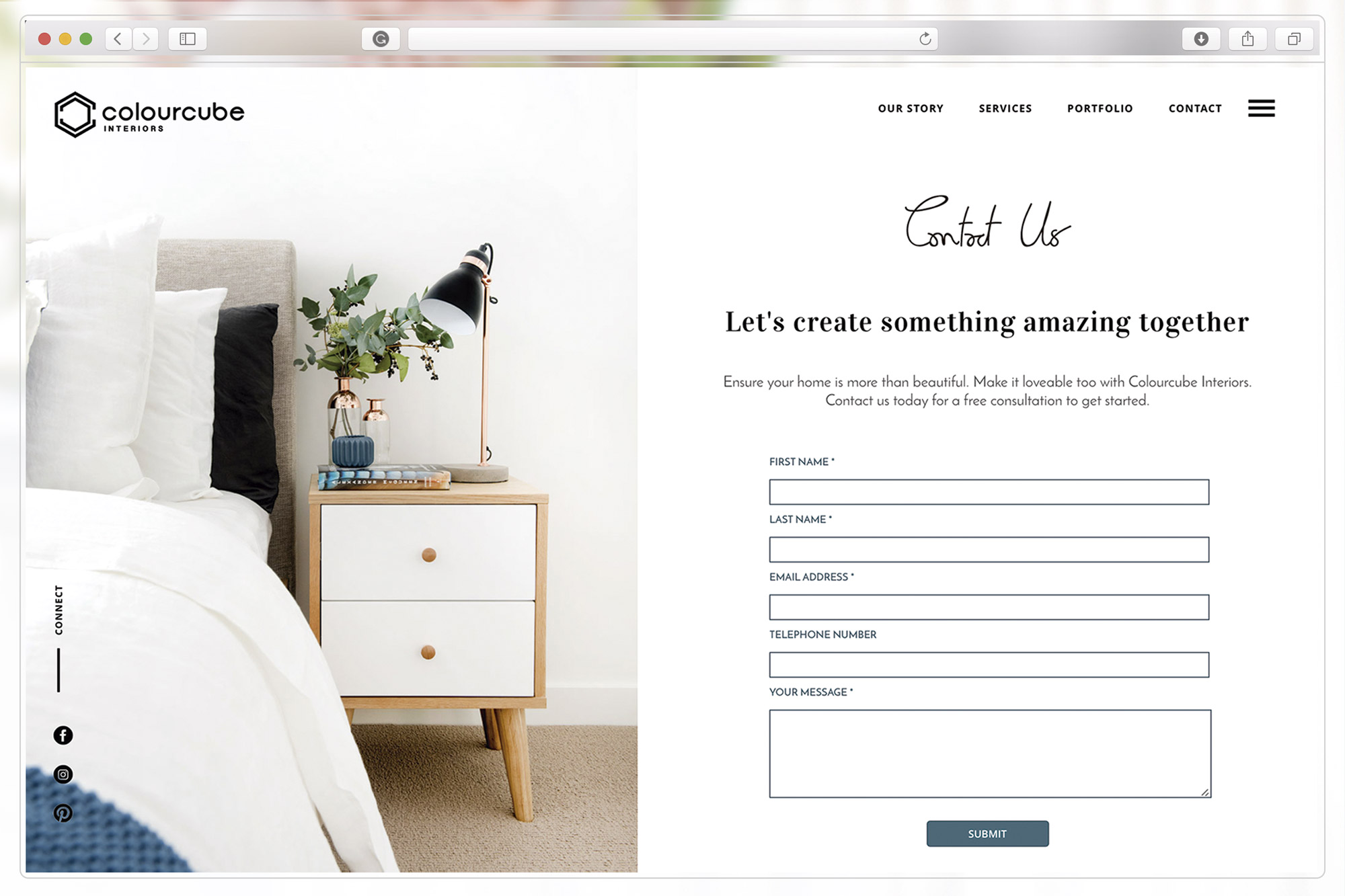 Contact page of ColourCube Interiors website