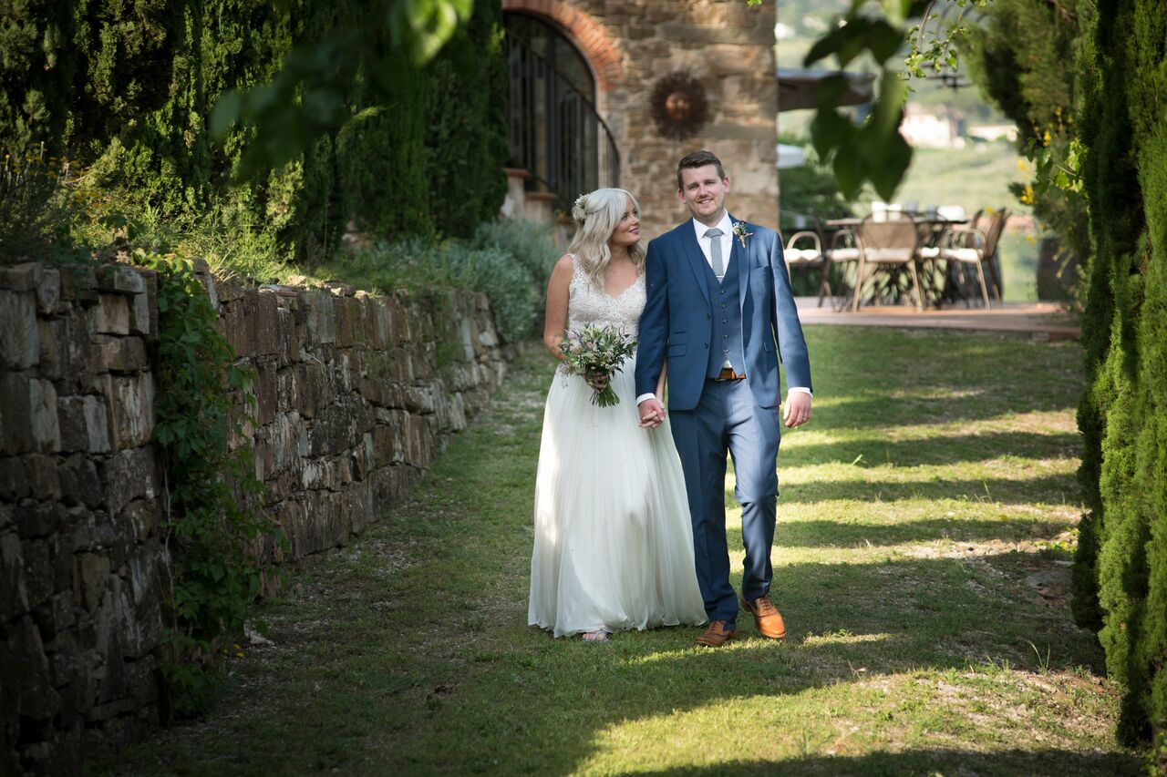 Laura & Martin, June 2018 - Thank you thank you thank you for helping us create the most amazing day! I've been trying to write this review since we got back from Italy, it's so hard to put into words our sincere thanks to Emily and the team – everything was a dream come true.Emily was the ideal planner to work with, she replied to emails super quickly and worked within our budget. She understood from the beginning what we wanted our day to be like and it was better than I could ever have expected. Emily helped us to find the dream caterer, florist and the best pizza party location ever. There wasn't anything that Emily didn't think about throughout the process, and it was lovely to plan the wedding with her. Emily and Annie worked so so so hard on the actual day to ensure everything ran smoothly, the reassurance they provided meant that I could truly enjoy the day without worrying about anything.If you are considering getting married abroad it can feel stressful at times but having Emily there means you know everything will be arranged with amazing attention to detail, she will care as much about your day as you do.I'm already missing our constant emails but will definitely be keeping in touch – we'll need to arrange the 10 year reunion party at Terre Di Baccio – see you there! Lots of Love Mr and Mrs Robinson xxxxx
