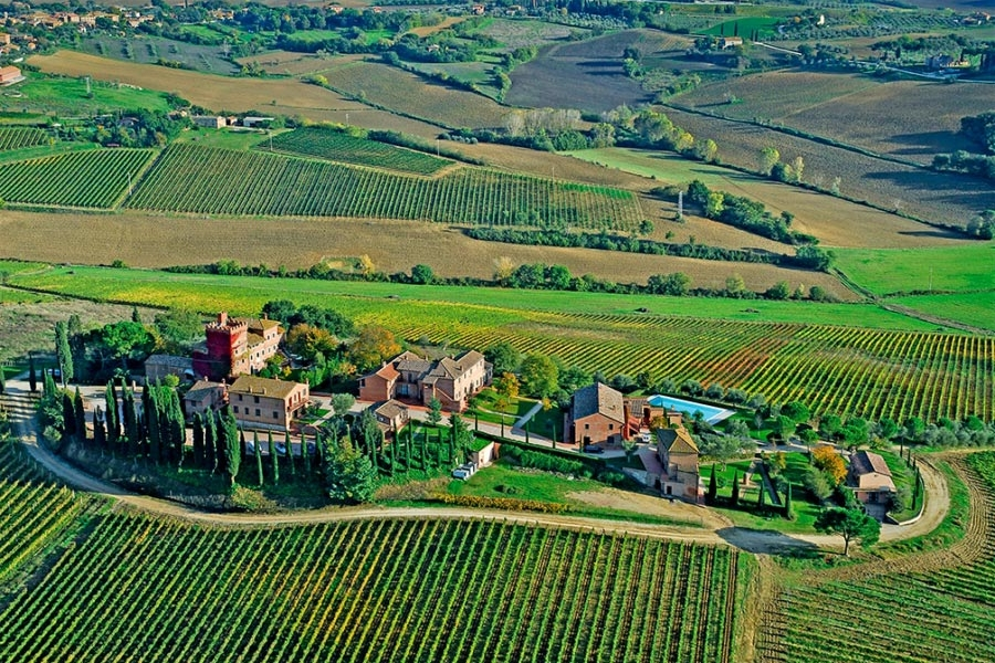 Borgo Tre Rose, Siena - A large venue, for a symbolic ceremony, with breath-taking 360 degree vineyard views.Read More...