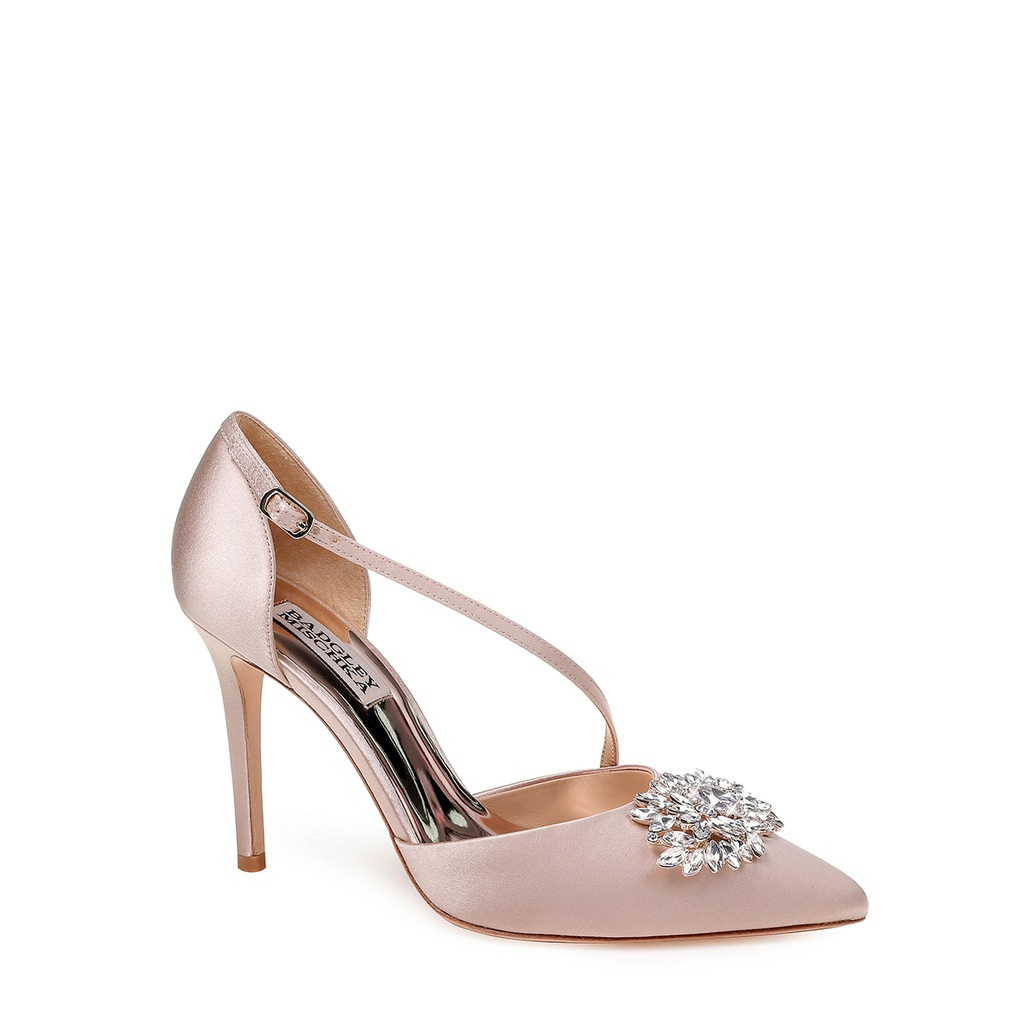 Palma D'Orsay by Badgley Mischka - A hint of colour, but nothing too out there, this is an elegant shoe to complete your bridal look.Available for $90 at https://www.badgleymischka.com/palma-dorsay-heel-evening-shoe-1/