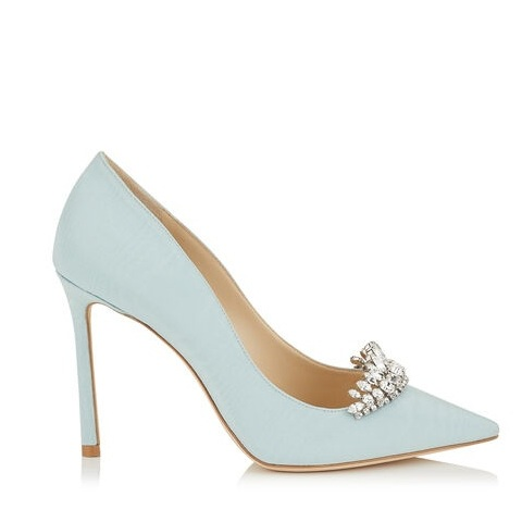 Romy 11 by Jimmy Choo - Undecided on your something blue? How about the pretty pastel court from Jimmy Choo?!Available for £675 at https://www.jimmychoo.com/en/women/shoes/romy-100/