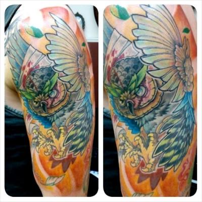 New School Owl Tattoo Morden